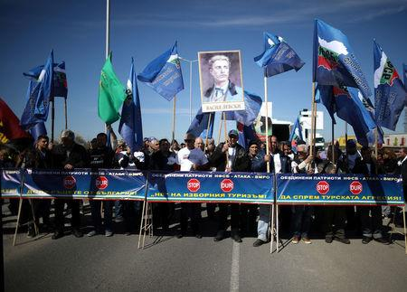 Demonstrators take part in a protest at Kapitan Andreevo border checkpoint between Turkey and Bulgaria, Bulgaria, March 24, 2017. Supporters of Bulgarian nationalist parties blocked the crossing in order to prevent ethnic Turkish citizens with Bulgarian passports to vote in the Sunday parliamentary elections. REUTERS/Stoyan Nenov
