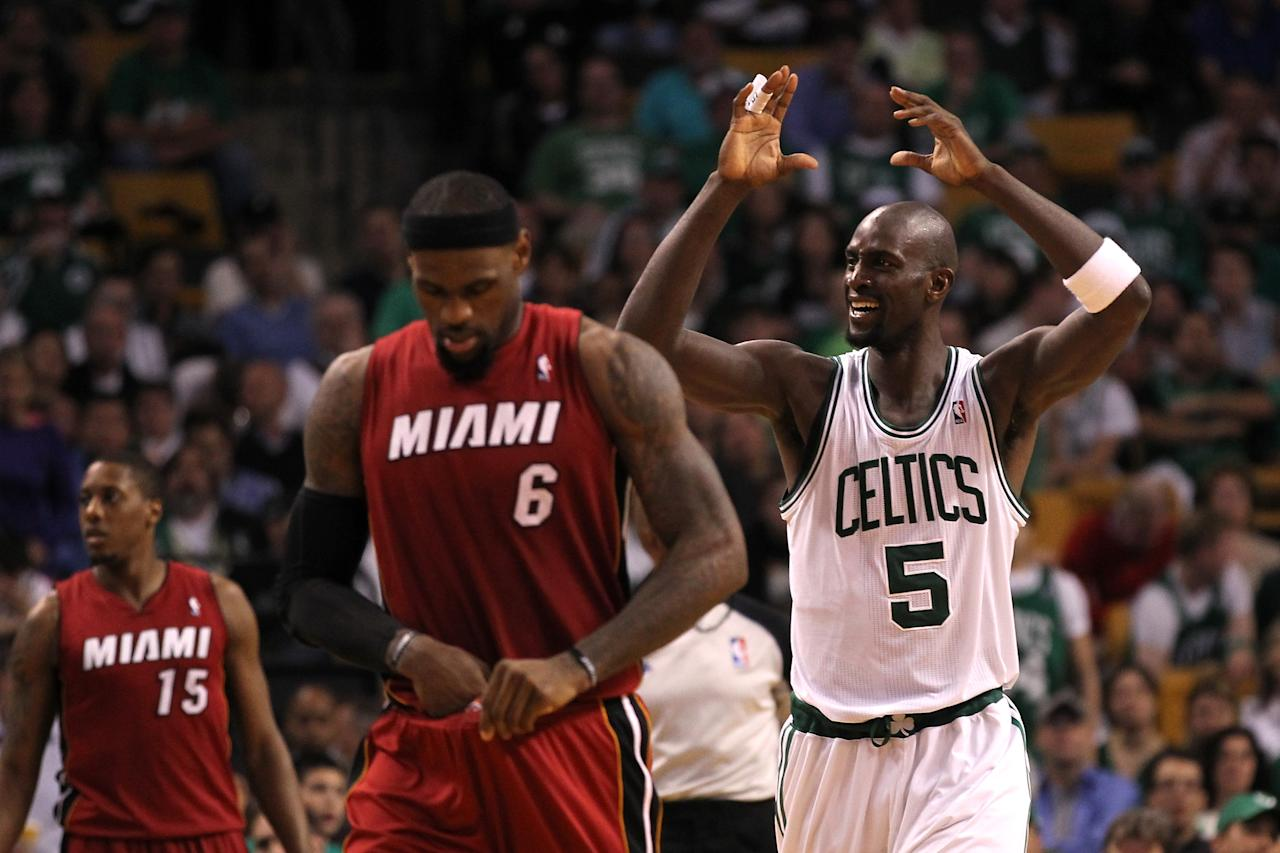 BOSTON, MA - JUNE 07:  Kevin Garnett #5 of the Boston Celtics reacts in the second half against LeBron James #6 of the Miami Heat in Game Six of the Eastern Conference Finals in the 2012 NBA Playoffs on June 7, 2012 at TD Garden in Boston, Massachusetts. NOTE TO USER: User expressly acknowledges and agrees that, by downloading and or using this photograph, User is consenting to the terms and conditions of the Getty Images License Agreement.  (Photo by Jim Rogash/Getty Images)