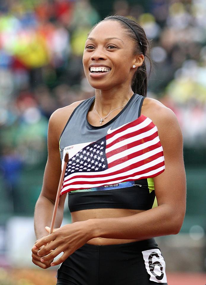 Allyson Felix celebrates after winning the Women's 200 Meter Dash Final on day nine of the U.S. Olympic Track & Field Team Trials at the Hayward Field on June 30, 2012 in Eugene, Oregon.  (Photo by Christian Petersen/Getty Images)
