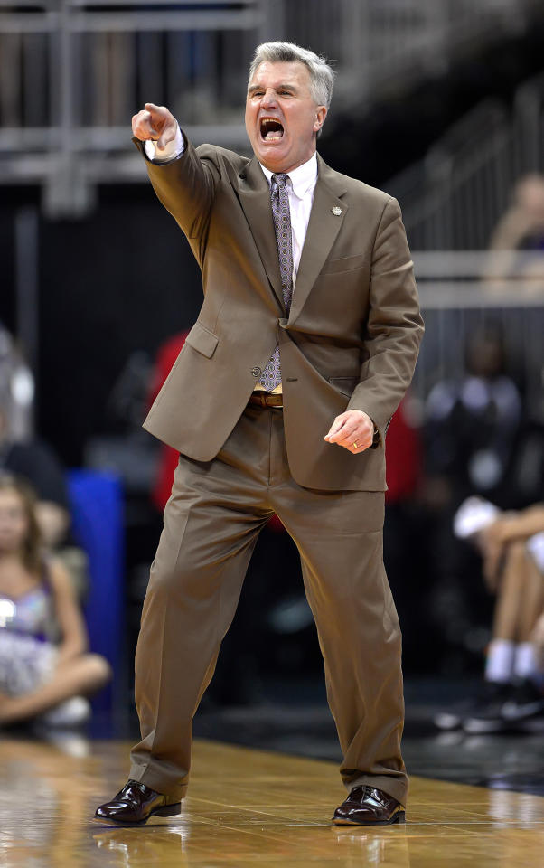 Kansas State head coach Bruce Weber shouts instructions during the second half against Texas in the quarterfinals of the Big 12 Tournament at the Sprint Center in Kansas City, Missouri, on Thursday, March 14, 2013. Kansas State won, 66-49. (David Eulitt/Kansas City Star/MCT)