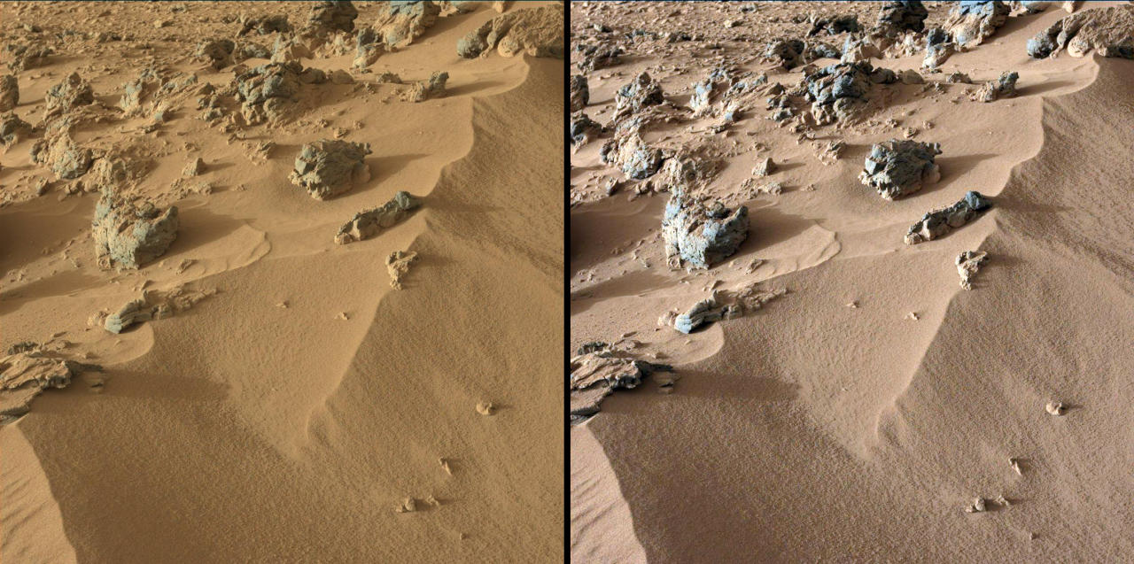 "This pair of images from the Mast Camera on NASA's Curiosity rover shows the upper portion of a wind-blown deposit dubbed ""Rocknest."" (NASA)"
