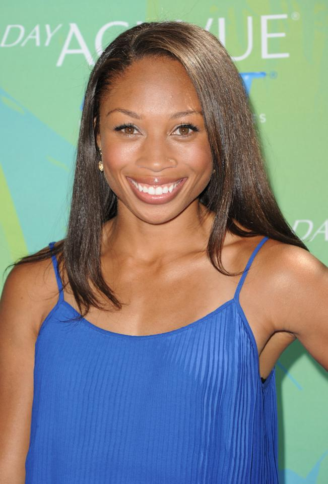UNIVERSAL CITY, CA - AUGUST 07: Athlete Allyson Felix arrives at the 2011 Teen Choice Awards held at the Gibson Amphitheatre on August 7, 2011 in Universal City, California. (Photo by Jason Merritt/Getty Images)