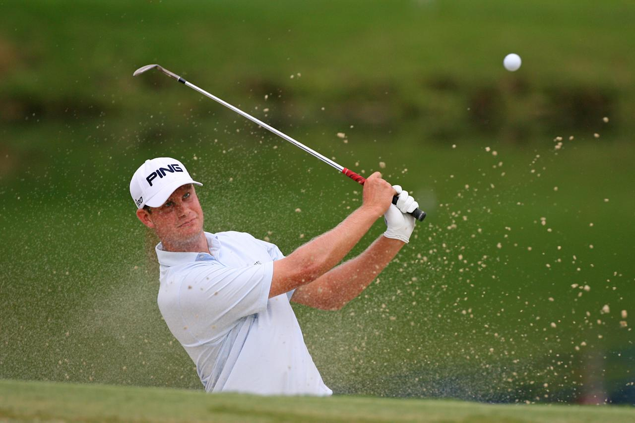 GREENSBORO, NC - AUGUST 18: Harris English hits his third shot on the 15th hole during the third round of the Wyndham Championship at Sedgefield Country Club on August 18, 2012 in Greensboro, North Carolina. (Photo by Hunter Martin/Getty Images)