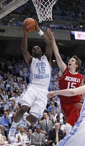 No. 5 North Carolina beats Nicholls State 99-49