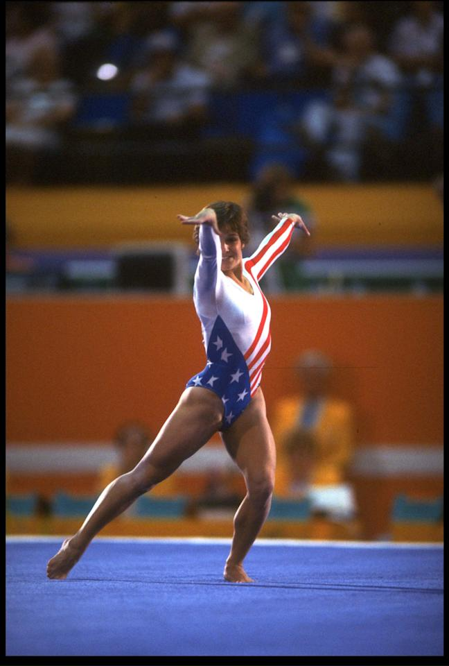 5 AUG 1984:  MARY LOU RETTON OF THE UNITED STATES PERFORMS HER ROUTINE DURING THE FLOOR EXERCISES EVENT AT THE 1984 LOS ANGELES OLYMPICS. RETTON FINISHED IN THIRD PLACE WITH A SCORE OF 19.775 POINTS.