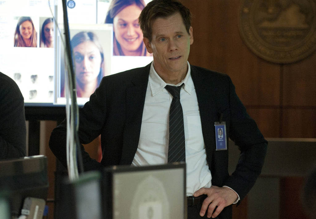 """Ryan Hardy (Kevin Bacon) questions Joe Carroll's whereabouts in the """"Guilt"""" episode of """"The Following."""""""