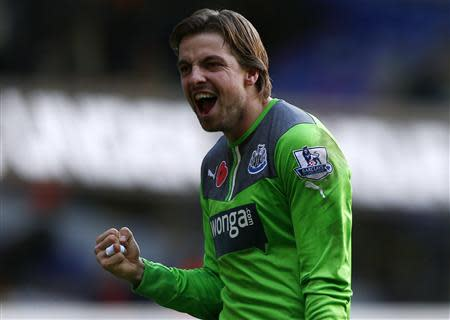 Newcastle United's Krul celebrates after beating Tottenham Hotspur in their English Premier League soccer match in London