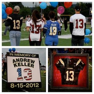 Andrew Keller's relatives celebrate his memory at a jersey retirement ceremony — Facebook