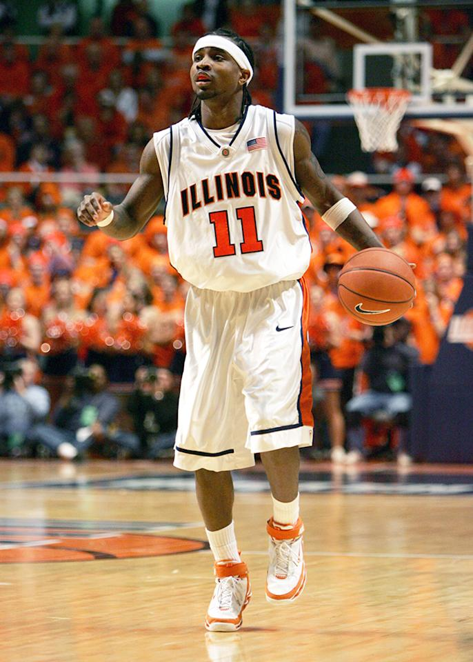 Dee Brown of the Illinois Fighting Illini drives down court during the game against the Indiana Hoosiers on February 19, 2006 at the Assembly Hall at the University of Illinois in Champaign, Illinois.