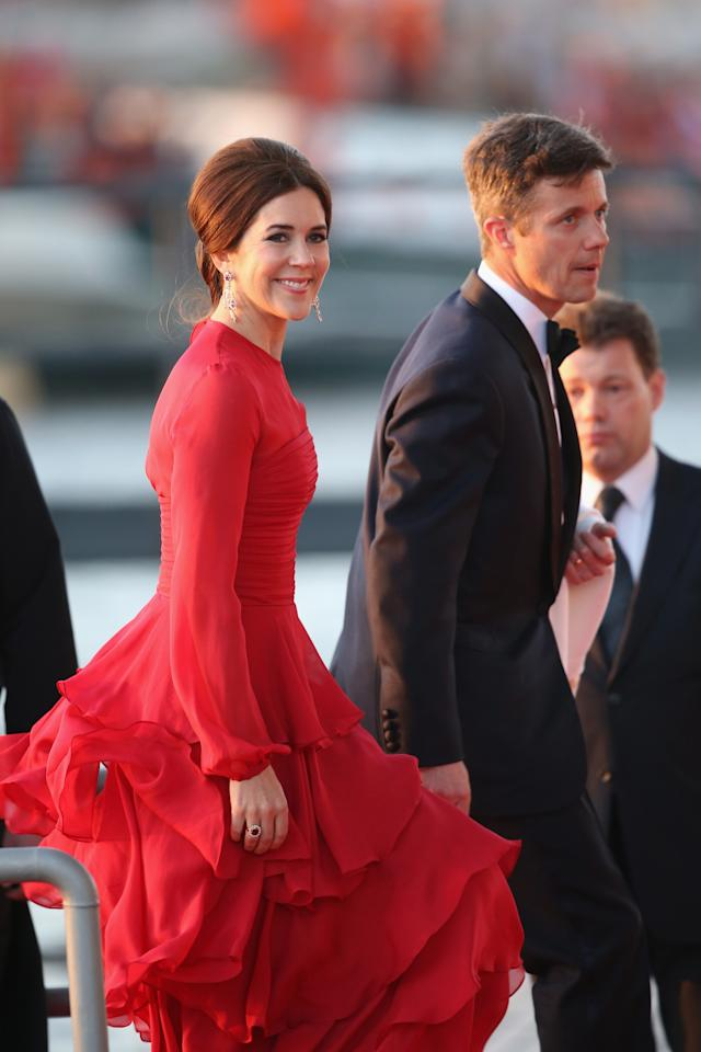 AMSTERDAM, NETHERLANDS - APRIL 30:  Crown Prince Frederik and Crown Princess Mary of Denmark arrive at the Muziekbouw following the water pageant after the abdication of Queen Beatrix of the Netherlands and the Inauguration of King Willem Alexander of the Netherlands on April 30, 2013 in Amsterdam, Netherlands.  (Photo by Chris Jackson/Getty Images)