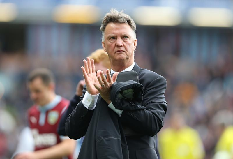 Manchester United manager Louis van Gaal applauds as he leaves the pitch at the end of his side's 0-0 Premier League draw against Burnley at Turf Moor on August 30, 2014