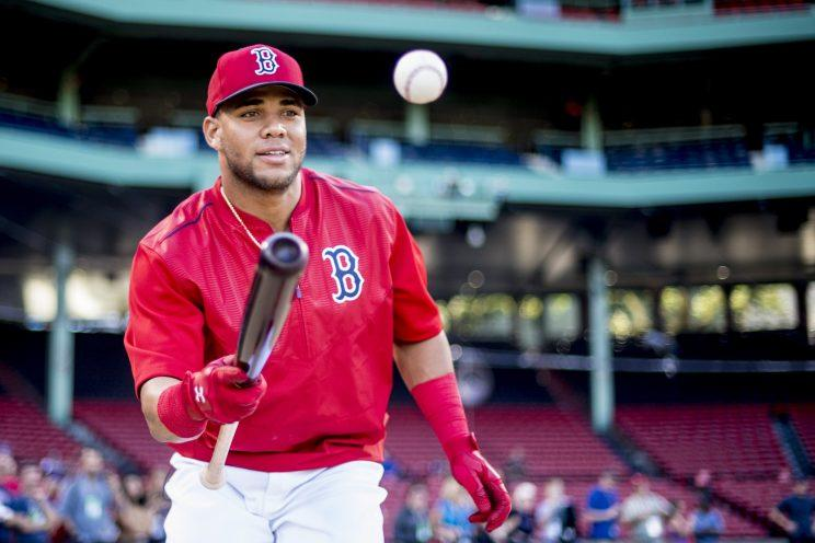 Yoan Moncada is right behind his former Red Sox teammate in the prospect rankings. (Getty Images)