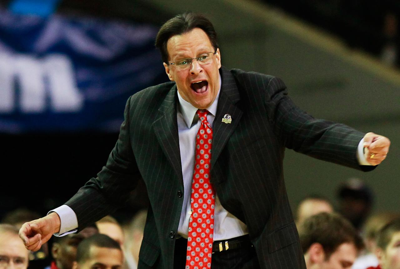 ATLANTA, GA - MARCH 23:  Head coach Tom Crean of the Indiana Hoosiers reacts in the first half against the Kentucky Wildcats during the 2012 NCAA Men's Basketball South Regional Semifinal game at the Georgia Dome on March 23, 2012 in Atlanta, Georgia.  (Photo by Kevin C. Cox/Getty Images)