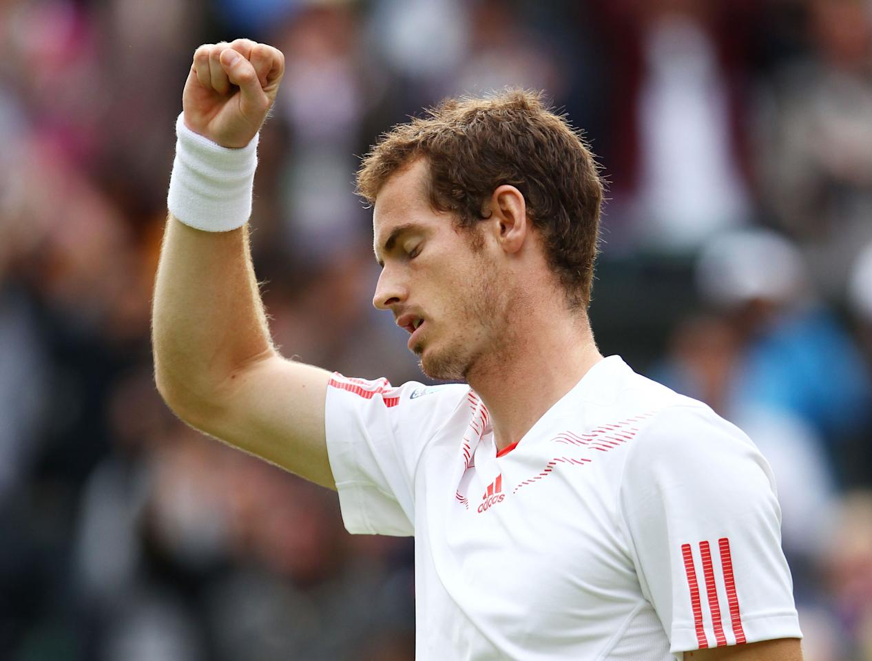 LONDON, ENGLAND - JULY 04:  Andy Murray of Great Britain celebrates match point during his Gentlemen's Singles quarter final match against David Ferrer of Spain on day nine of the Wimbledon Lawn Tennis Championships at the All England Lawn Tennis and Croquet Club on July 4, 2012 in London, England.  (Photo by Clive Brunskill/Getty Images)