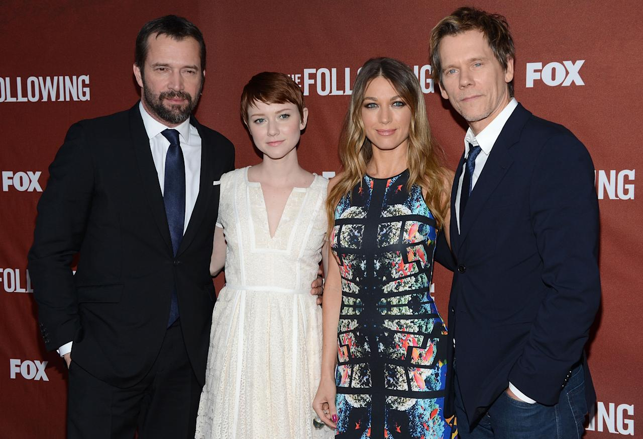 """NORTH HOLLYWOOD, CA - APRIL 29:  Actors James Purefoy, Valorie Curry, Natalie Zea and Kevin Bacon attend the screening of Fox's """"The Following"""" at Leonard H. Goldenson Theatre on April 29, 2013 in North Hollywood, California.  (Photo by Jason Kempin/Getty Images)"""