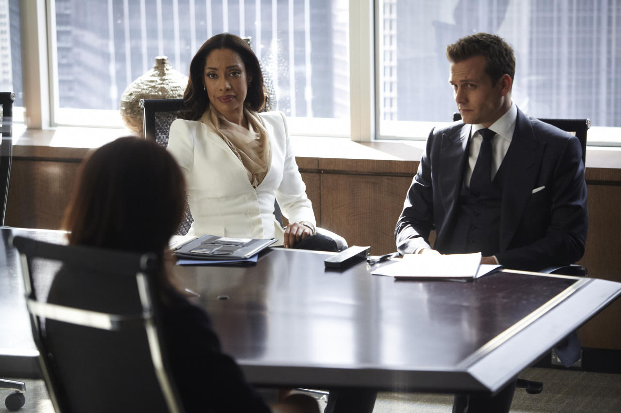 "Gina Torres as Jessica Pearson, Gabriel Macht as Harvey Specter in the ""Suits"" Season 3 episode, ""I Want You To Want Me."""