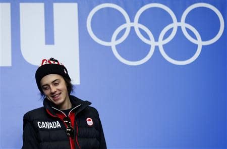 Canadian snowboarder Mark McMorris attends a news conference in Rosa Khutor
