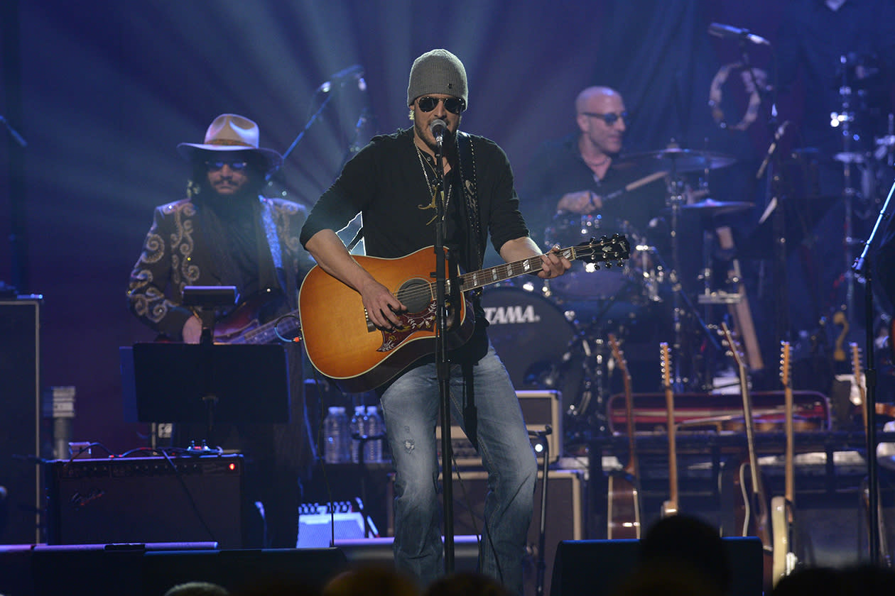 <b>18. Eric Church - $11,015,773.11</b><br><br>Eric Church performs onstage at the Love for Levon Benefit to Save the Barn Concert in East Rutherford, New Jersey.