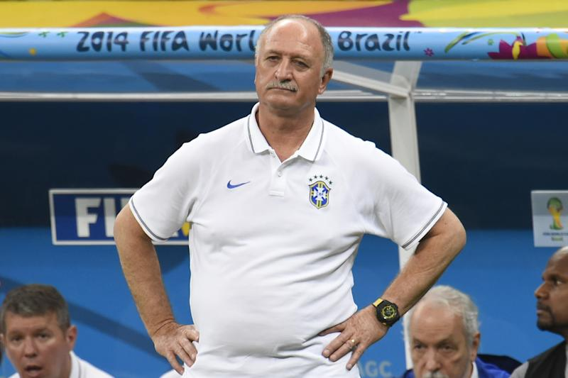 Brazil's coach Luiz Felipe Scolari reacts during the third place play-off football match between Brazil and Netherlands during the 2014 FIFA World Cup at the National Stadium in Brasilia on July 12, 2014