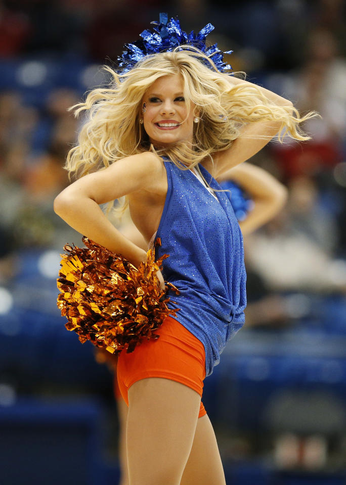 DAYTON, OH - MARCH 20:  A Boise State Broncos cheerleader performs in the second half against the La Salle Explorers during the first round of the 2013 NCAA Men's Basketball Tournament at University of Dayton Arena on March 20, 2013 in Dayton, Ohio.  (Photo by Gregory Shamus/Getty Images)