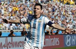 Lionel Messi celebrates after his game-winning goal. (AP)