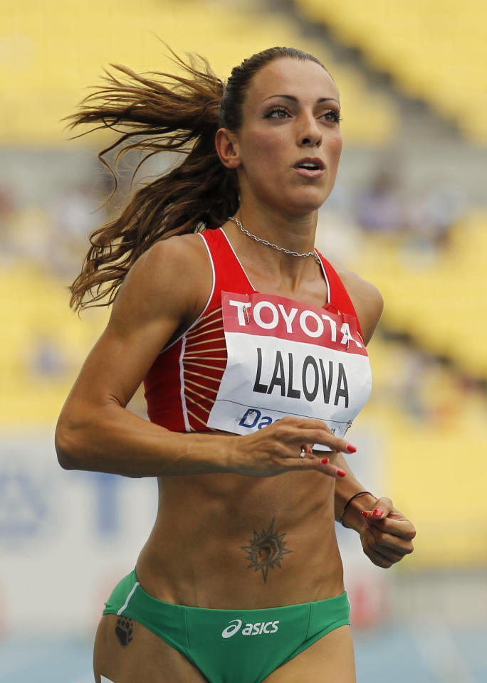 Bulgaria's Ivet Lalova competes in a heat for the Women's 100m at the World Athletics Championships in Daegu, South Korea, Sunday, Aug. 28, 2011. (AP Photo/Anja Niedringhaus)