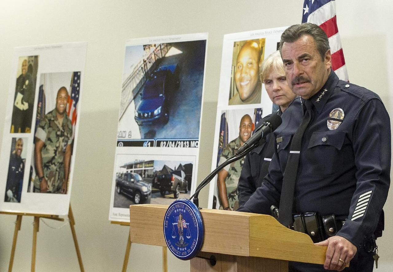 FILE- In this Feb. 7, 2013 file photo, Los Angeles Police Chief Charlie Beck, right, comments on fired officer, Christopher Dorner, seen left on police photos, during a news conference at the LAPD headquarters in Los Angeles. At left, Assistant Chief Sandy Jo MacArthur. An internal review by the Los Angeles Police Department has concluded that rogue ex-cop Christopher Dorner was justifiably fired. Chief Charlie Beck ordered the review in February while Dorner was on the run. The former officer had posted an online manifesto vowing warfare against the department, officers and their families, in retaliation for what he called his unfair firing in 2008. (AP Photo/Damian Dovarganes, file)