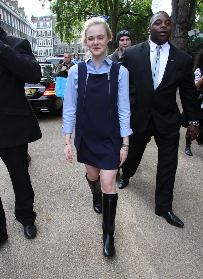 LONDON, UNITED KINGDOM - SEPTEMBER 16: Elle Fanning sighting at London Fashion Week on September 16, 2012 in London, England. (Photo by Simon James/FilmMagic)