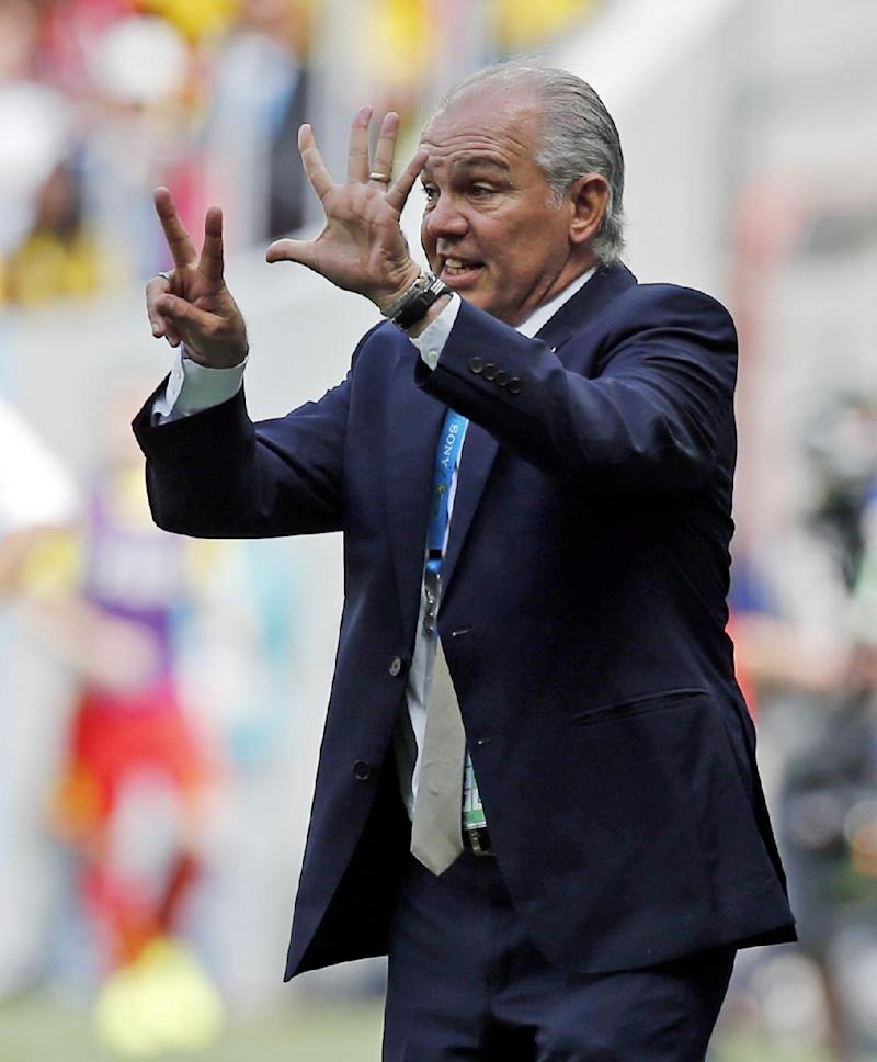 Argentina's head coach Alejandro Sabella gives his team directions from the sidelines during the World Cup quarterfinal soccer match between Argentina and Belgium at the Estadio Nacional in Brasilia, Brazil, Saturday, July 5, 2014