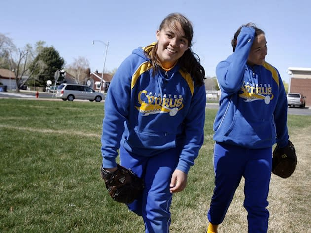 Cypress High pitchers Celeste, left, and Gracie Castelan — Salt Lake Tribune