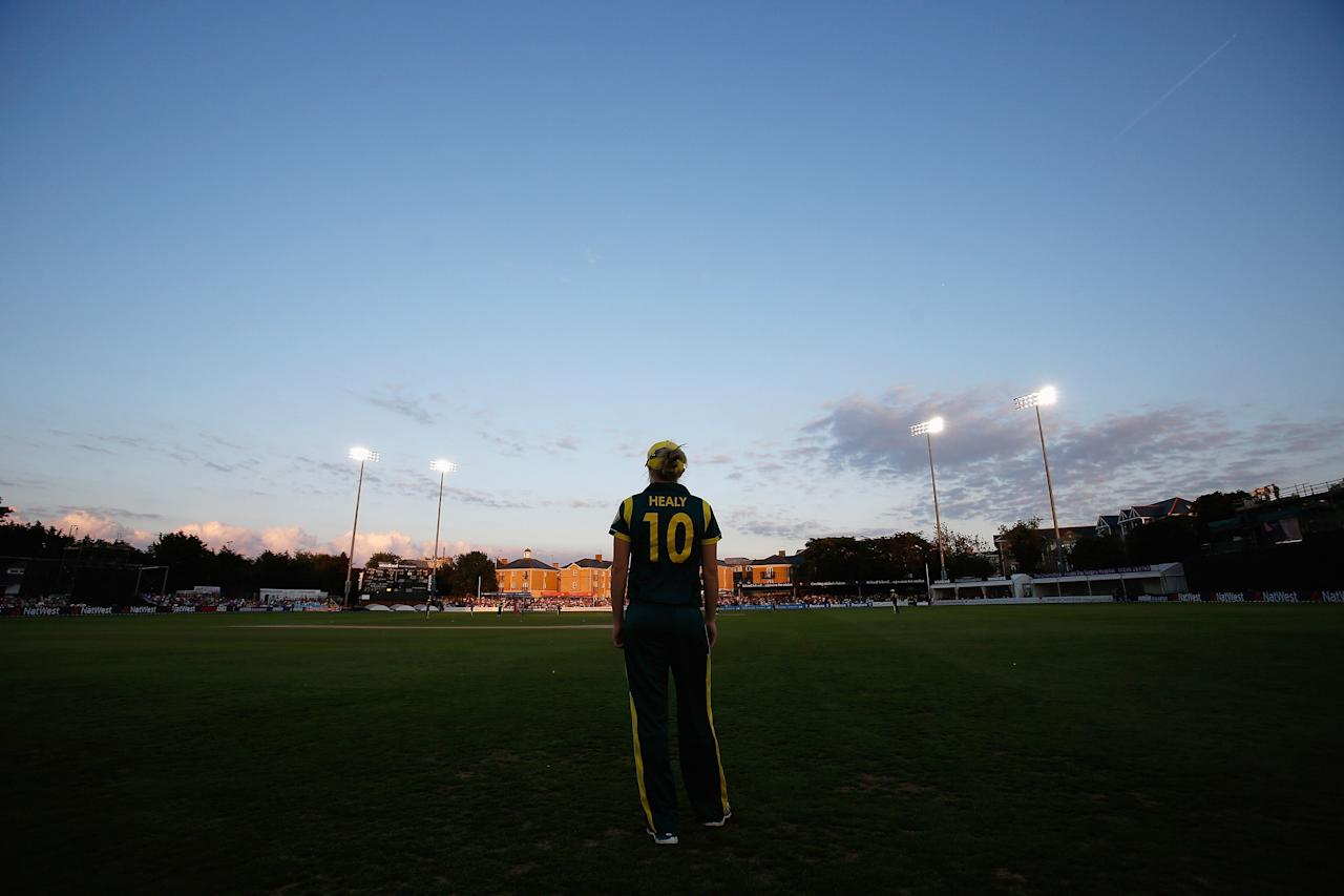 CHELMSFORD, ENGLAND - AUGUST 27: Alyssa Healy of Australia stands on the boundary during the first NatWest T20 match between England and Australia at the Ford County Ground on August 27, 2013 in Chelmsford, England.  (Photo by Harry Engels/Getty Images)
