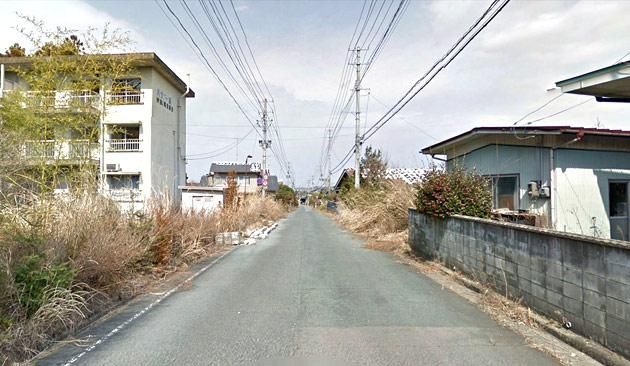 Screenshot from Google Maps shows the nuclear no-go zone where former residents have been unable to live because of the radiation spewing from the Fukushima Dai-ichi nuclear power plant.