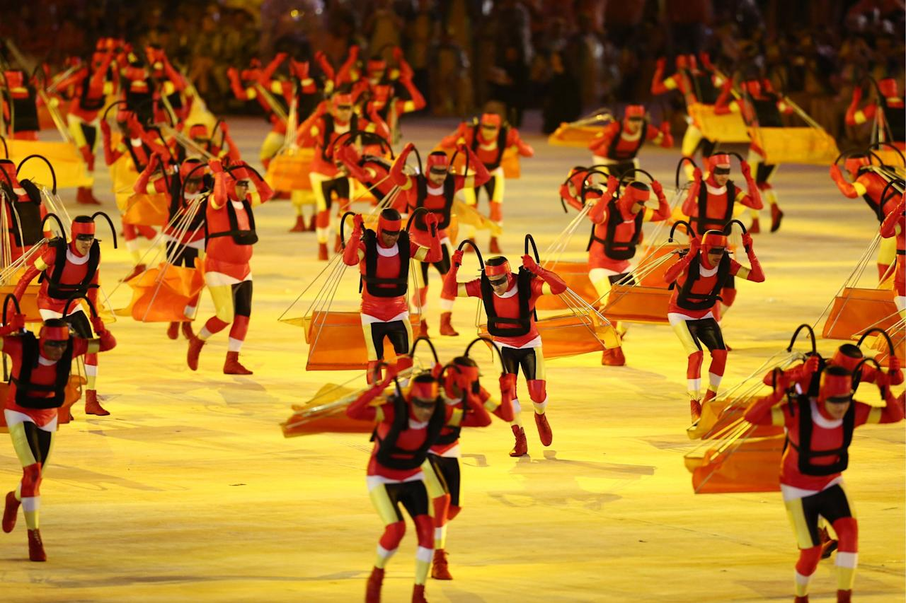 <p>Dancers perform at the closing ceremony of the Rio 2016 Summer Olympic Games, at the Maracana Stadium. Stanislav Krasilnikov/TASS (Photo by Stanislav KrasilnikovTASS via Getty Images) </p>