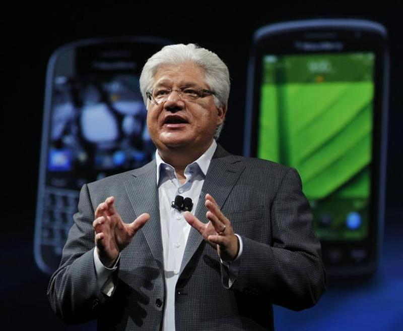 Mike Lazaridis, President and Co-CEO of Research In Motion, speaks during BlackBerry's DevCon at the Moscone West Center in San Francisco