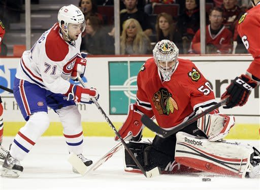 Brunette, Sharp lead Blackhawks past Canadiens