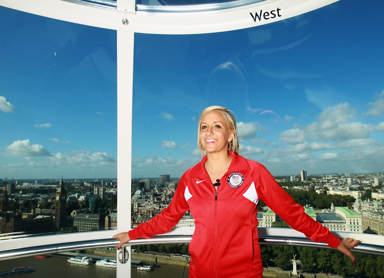 LONDON, ENGLAND - SEPTEMBER 13:  Gymnast Nastia Liukin of the USA poses in the London Eye during a tour of London on September 13, 2011 in London, England.  (Photo by Bryn Lennon/Getty Images for USOC)
