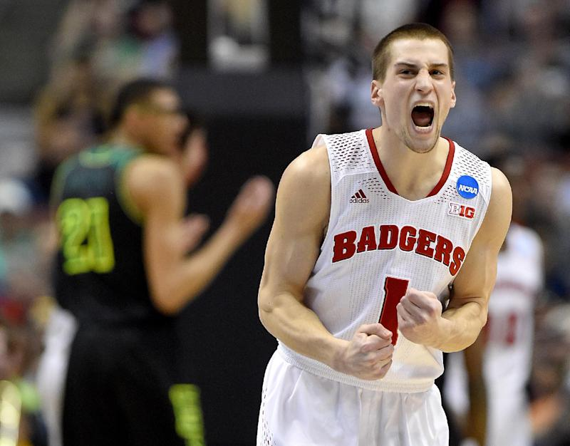 Wisconsin guard Ben Brust (1) reacts during the first half of an NCAA college basketball tournament regional semifinal against Baylor, Thursday, March 27, 2014, in Anaheim, Calif