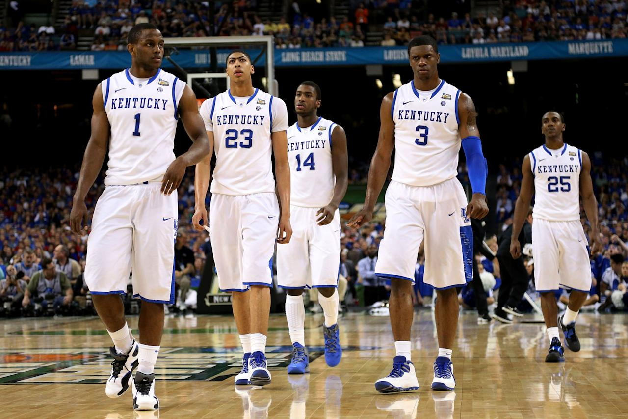 (L-R) Darius Miller #1, Anthony Davis #23, Michael Kidd-Gilchrist #14, Terrence Jones #3 and Marquis Teague #25 of the Kentucky Wildcats walk on the court in the second half against the Kansas Jayhawks in the National Championship Game of the 2012 NCAA Division I Men's Basketball Tournament at the Mercedes-Benz Superdome on April 2, 2012 in New Orleans, Louisiana. (Photo by Ronald Martinez/Getty Images)