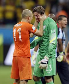 Tim Krul (right) was the hero for the Netherlands in the quarterfinals. (AP)