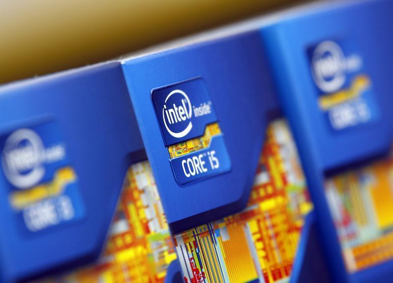 Intel processors are displayed at a store in Seoul