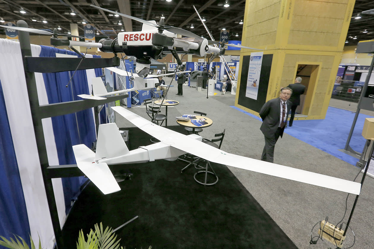 Unmanned Aircraft Systems are displayed at the Border Security Expo in Phoenix.