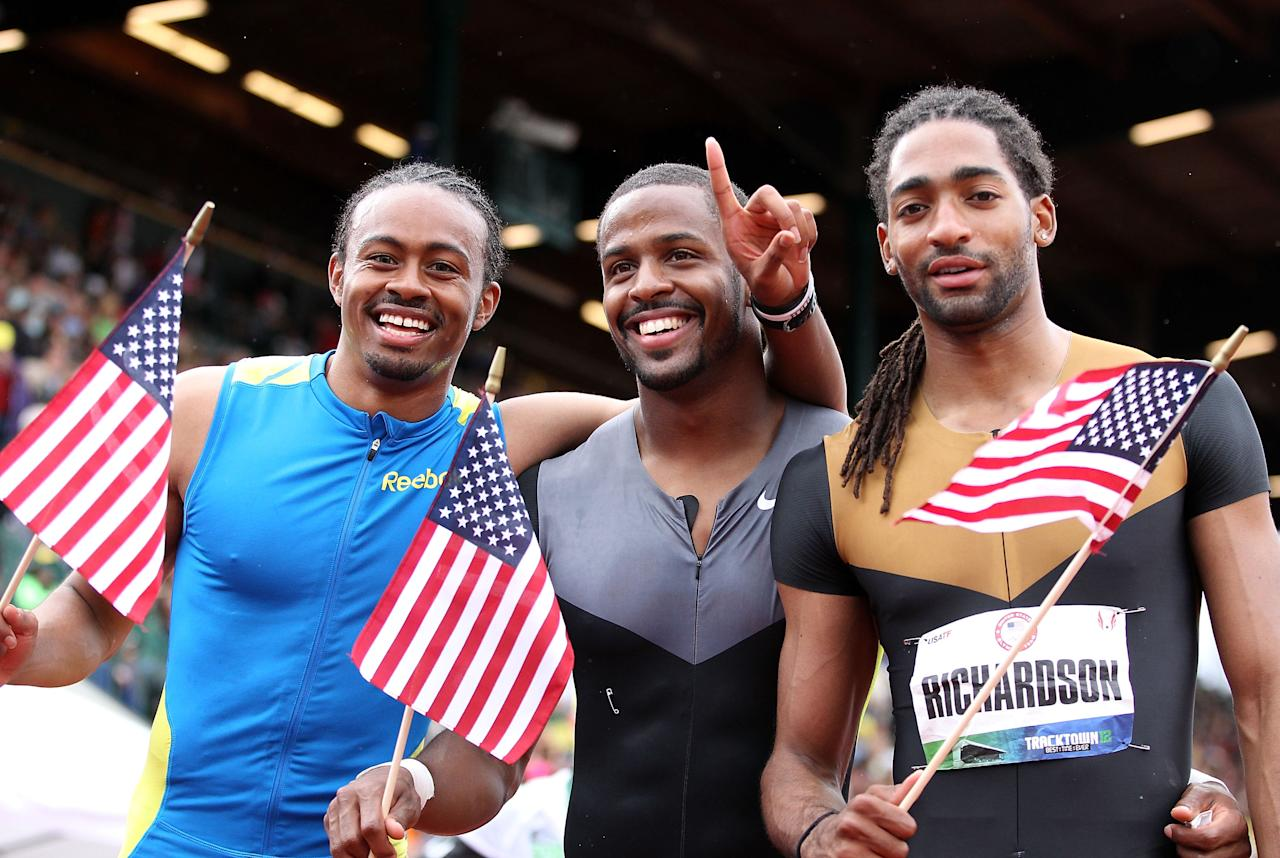 EUGENE, OR - JUNE 30:  (L-R) Aries Merritt (first), Jeffrey Porter (third) and Jason Richardson (second) pose together after the Men's 110 Meter Hurdles Final on day nine of the U.S. Olympic Track & Field Team Trials at the Hayward Field on June 30, 2012 in Eugene, Oregon.  (Photo by Christian Petersen/Getty Images)