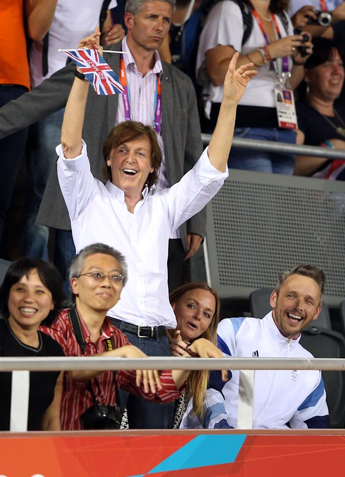 LONDON, ENGLAND - AUGUST 04:  Sir Paul McCartney, Stella McCartney and Alasdhair Willis attend the Women's Team Pursuit Track Cycling Finals on Day 8 of the London 2012 Olympic Games at Velodrome on August 4, 2012 in London, England.  (Photo by Quinn Rooney/Getty Images)