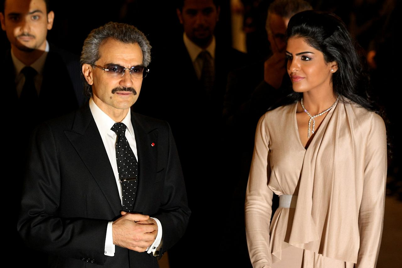 LONDON, ENGLAND - NOVEMBER 02:  The part owner of The Savoy HRH Prince Alwaleed Bin Talal Bin Abdulaziz Alsaud and his wife, Princess Amira, arrive to greet the Prince of Wales as he officially reopens The Savoy following an extensive refit on November 2, 2010 in London, England. The Savoy hotel, which originally opened in 1889, closed for refurbishment and restoration of the entire building by over 1000 craftsmen in December 2007 and began receiving guests again on October 10, 2010.  (Photo by Oli Scarff/Getty Images)
