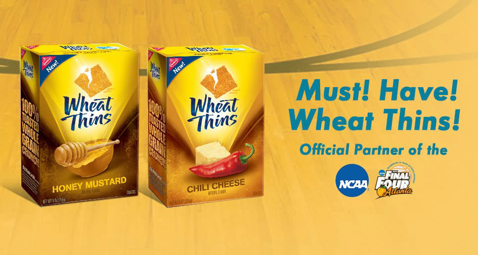 "Crunch time. REESE'S isn't the only one with a text entry contest. Text ""wheatthins"" to 63065 through April 15 or enter by mail for a 55"" flat screen TV, Wheat Thins/NCAA branded basketball jersey or a mini-basketball. Find official details of the Must. Have. March Madness. rules."