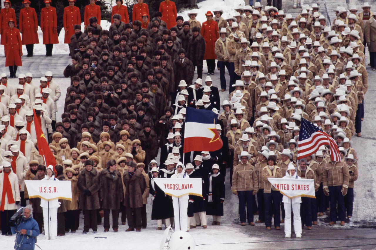 Olympics Winter opening ceremonies in Lake Placid in 1980. (AP Photo)