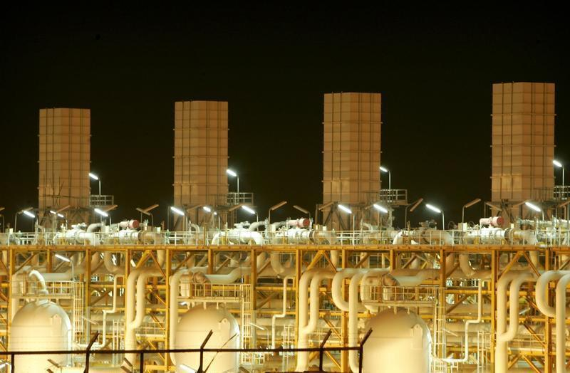 Facilities at phases 2-3 of the South Pars gas field are illuminated at night in Assaluyeh on Iran's Persian Gulf coast