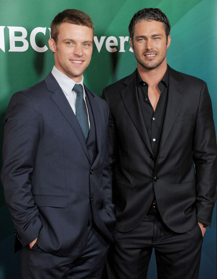 """Jesse Spencer and Taylor Kinney (""""Chicago Fire"""") attend the 2013 NBC Universal Summer Press Day held at The Langham Huntington Hotel and Spa on April 22, 2013 in Pasadena, California."""