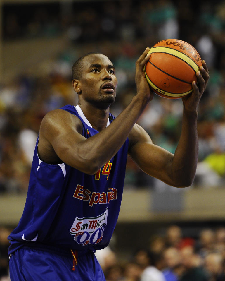 BARCELONA, SPAIN - JULY 24:  Serge Ibaka #14 of the Spain Men's Senior National Team in action during a Pre-Olympic Men's Exhibition Game between USA and Spain at Palau Sant Jordi on July 24, 2012 in Barcelona, Spain.  (Photo by David Ramos/Getty Images)