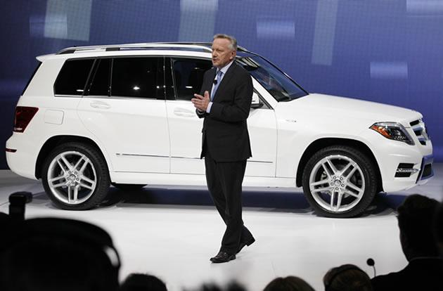 Dr. Joachim Schmidt, executive vice president of Meredes-Benz, discusses a 2013 Mercedes GLK 350.